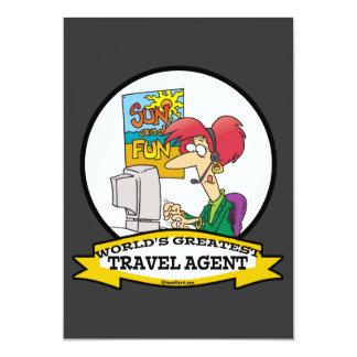 WORLDS GREATEST TRAVEL AGENT WOMEN CARTOON INVITE