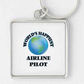 World's Happiest Airline Pilot Silver-Colored Square Key Ring