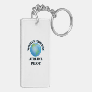World's Happiest Airline Pilot Double-Sided Rectangular Acrylic Key Ring