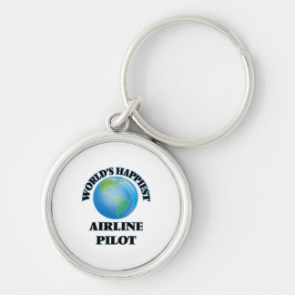 World's Happiest Airline Pilot Silver-Colored Round Key Ring
