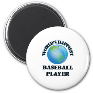 World's Happiest Baseball Player 2 Inch Round Magnet