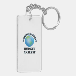 World's Happiest Budget Analyst Double-Sided Rectangular Acrylic Key Ring