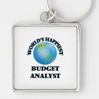 World's Happiest Budget Analyst Silver-Colored Square Key Ring