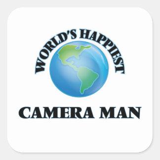 World's Happiest Camera Man Square Sticker