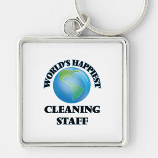 World's Happiest Cleaning Staff Silver-Colored Square Key Ring