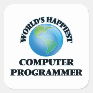 World's Happiest Computer Programmer Square Sticker