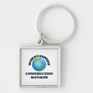 World's Happiest Construction Manager Silver-Colored Square Key Ring