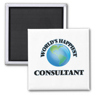 World's Happiest Consultant 2 Inch Square Magnet