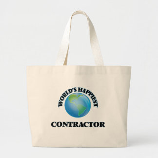 World's Happiest Contractor Jumbo Tote Bag