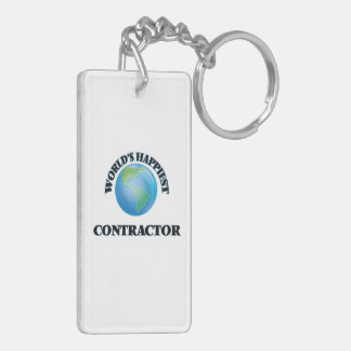 World's Happiest Contractor Double-Sided Rectangular Acrylic Key Ring