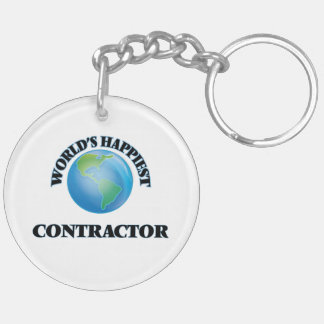 World's Happiest Contractor Double-Sided Round Acrylic Keychain