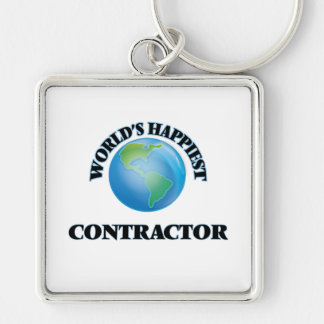 World's Happiest Contractor Silver-Colored Square Key Ring