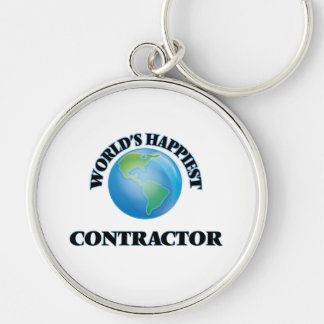 World's Happiest Contractor Silver-Colored Round Key Ring