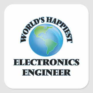 World's Happiest Electronics Engineer Square Sticker