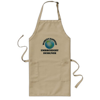 World's Happiest Embroidery Designer Long Apron