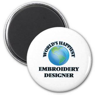 World's Happiest Embroidery Designer 6 Cm Round Magnet