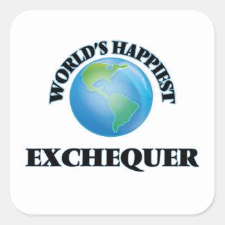 World's Happiest Exchequer Square Sticker