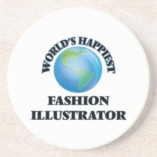 World's Happiest Fashion Illustrator Drink Coasters