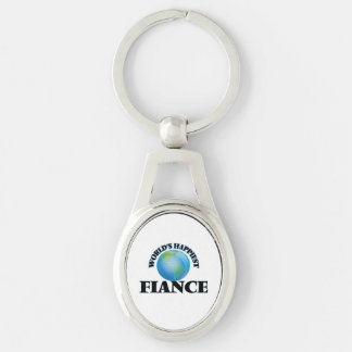 World's Happiest Fiance Silver-Colored Oval Key Ring