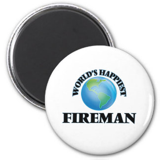 World's Happiest Fireman 2 Inch Round Magnet
