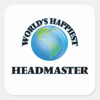 World's Happiest Headmaster Square Sticker