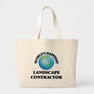 World's Happiest Landscape Contractor Jumbo Tote Bag