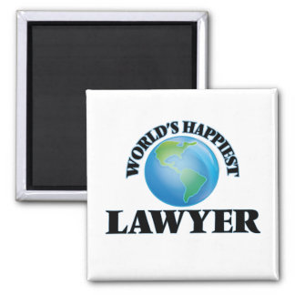 World's Happiest Lawyer 2 Inch Square Magnet