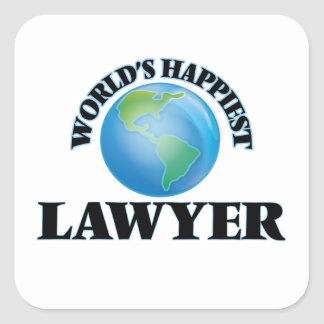World's Happiest Lawyer Square Sticker