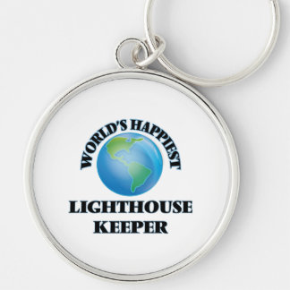 World's Happiest Lighthouse Keeper Silver-Colored Round Keychain