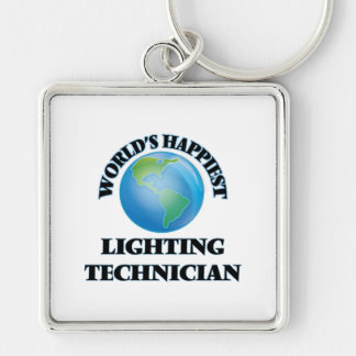 World's Happiest Lighting Technician Silver-Colored Square Key Ring