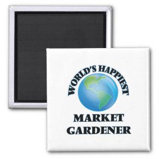 World's Happiest Market Gardener 2 Inch Square Magnet