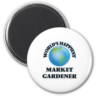 World's Happiest Market Gardener 2 Inch Round Magnet