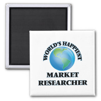 World's Happiest Market Researcher 2 Inch Square Magnet