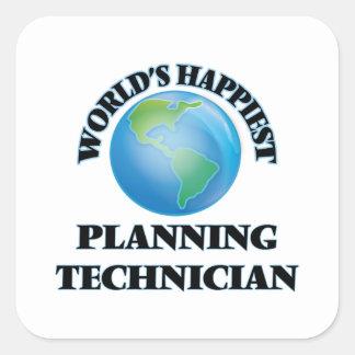 World's Happiest Planning Technician Square Sticker