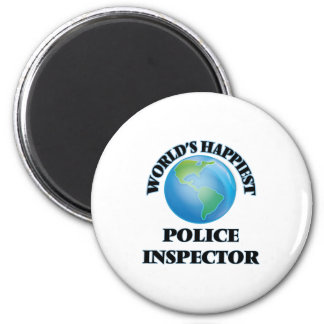 World's Happiest Police Inspector 2 Inch Round Magnet