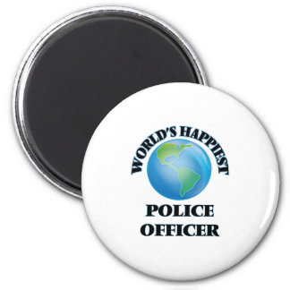 World's Happiest Police Officer 6 Cm Round Magnet