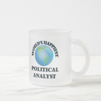 World's Happiest Political Analyst Frosted Glass Mug