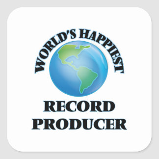 World's Happiest Record Producer Square Sticker