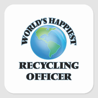 World's Happiest Recycling Officer Square Sticker