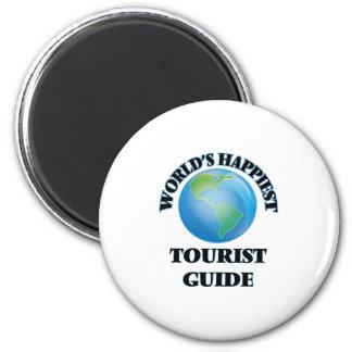 World's Happiest Tourist Guide 6 Cm Round Magnet