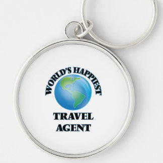 World's Happiest Travel Agent Silver-Colored Round Key Ring