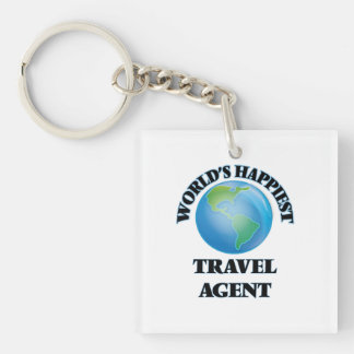 World's Happiest Travel Agent Single-Sided Square Acrylic Key Ring