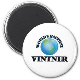 World's Happiest Vintner 2 Inch Round Magnet