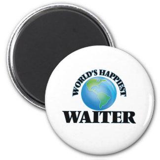World's Happiest Waiter 2 Inch Round Magnet