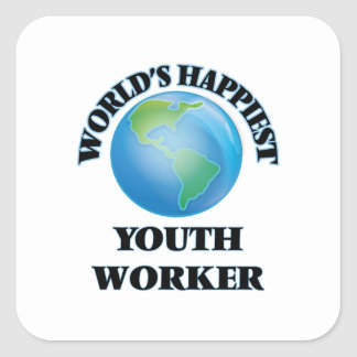 World's Happiest Youth Worker Square Sticker