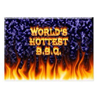 World's hottest BBQ fire and flames blue marble Large Business Cards (Pack Of 100)