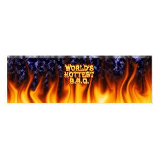 World's hottest BBQ fire and flames blue marble Pack Of Skinny Business Cards