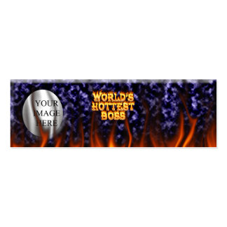 World's hottest Boss fire and flames blue marble. Pack Of Skinny Business Cards