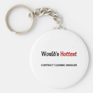 Worlds Hottest Contract Cleaning Manager Basic Round Button Key Ring