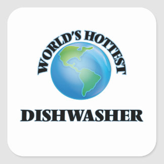 World's Hottest Dishwasher Square Sticker